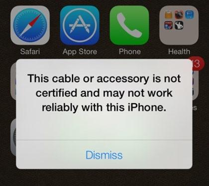 ทำไมใช้สายชาร์จ iPhone แท้ แล้วยังขึ้นแจ้งเตือนไม่รองรับ